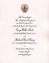 Click Here for Larger View of Inaugural Invitation
