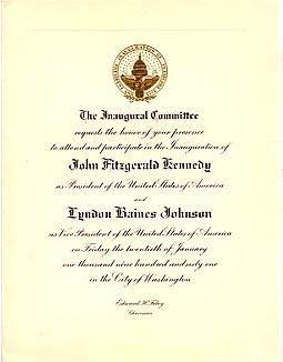 Inauguration of president john f kennedy invitations more k 1 official invitation to inauguration of president john f kennedy stopboris Gallery