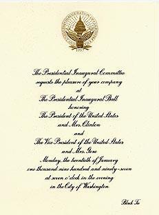 Presidential Inaugural Invitations and Memorabilia for Sale